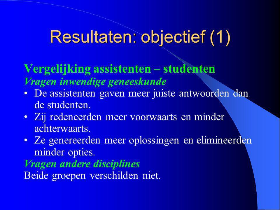 Resultaten: objectief (1) Vergelijking assistenten – studenten Vragen inwendige geneeskunde De assistenten gaven meer juiste antwoorden dan de studenten.