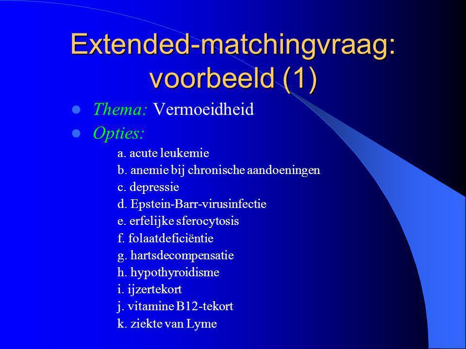 Extended-matchingvraag: voorbeeld (2) Opdracht: Duid de meest waarschijnlijke diagnose aan.