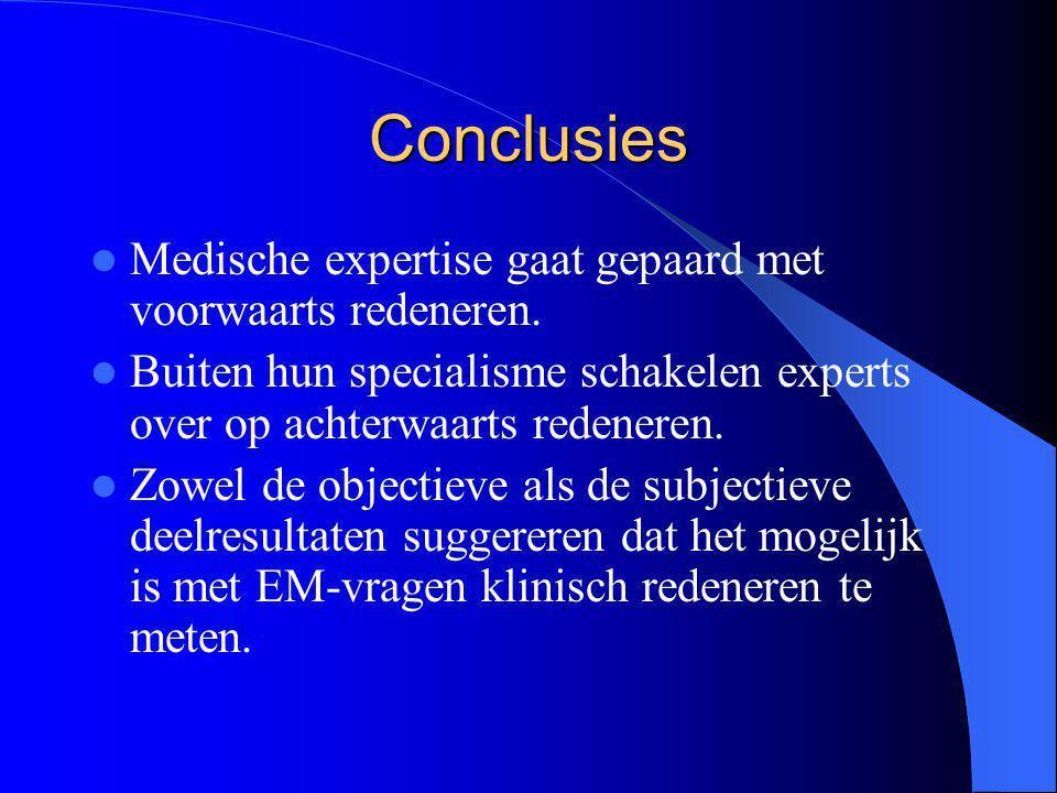 Conclusies Medische expertise gaat gepaard met voorwaarts redeneren.