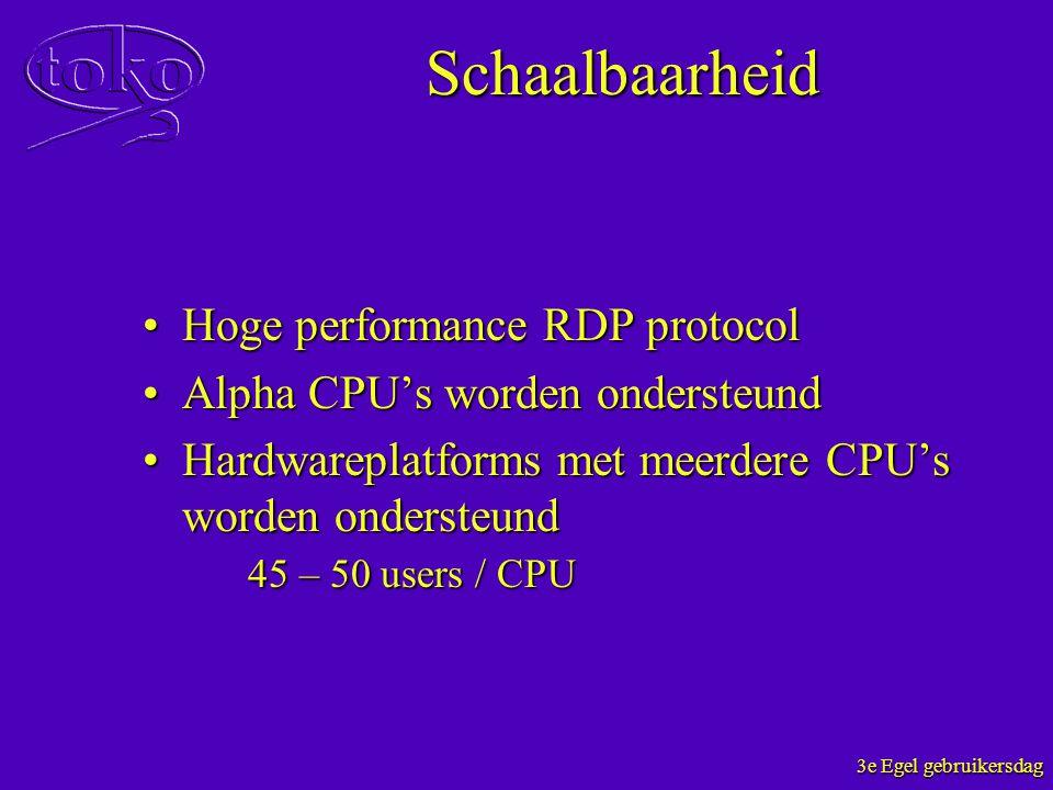 3e Egel gebruikersdag Schaalbaarheid Hoge performance RDP protocolHoge performance RDP protocol Alpha CPU's worden ondersteundAlpha CPU's worden onder