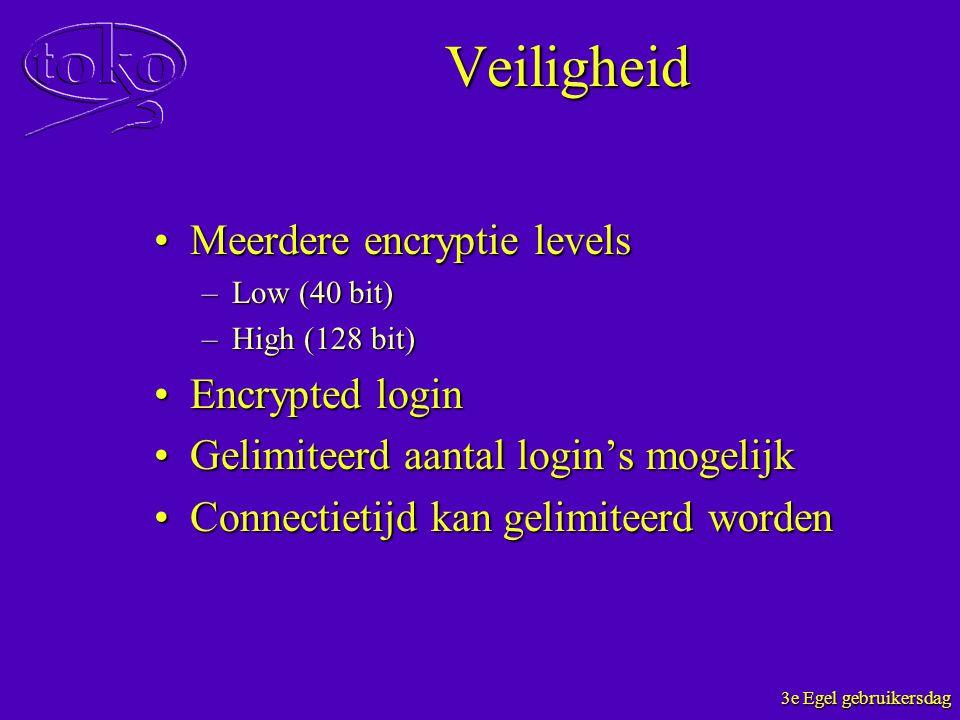 3e Egel gebruikersdag Veiligheid Meerdere encryptie levelsMeerdere encryptie levels –Low (40 bit) –High (128 bit) Encrypted loginEncrypted login Gelim