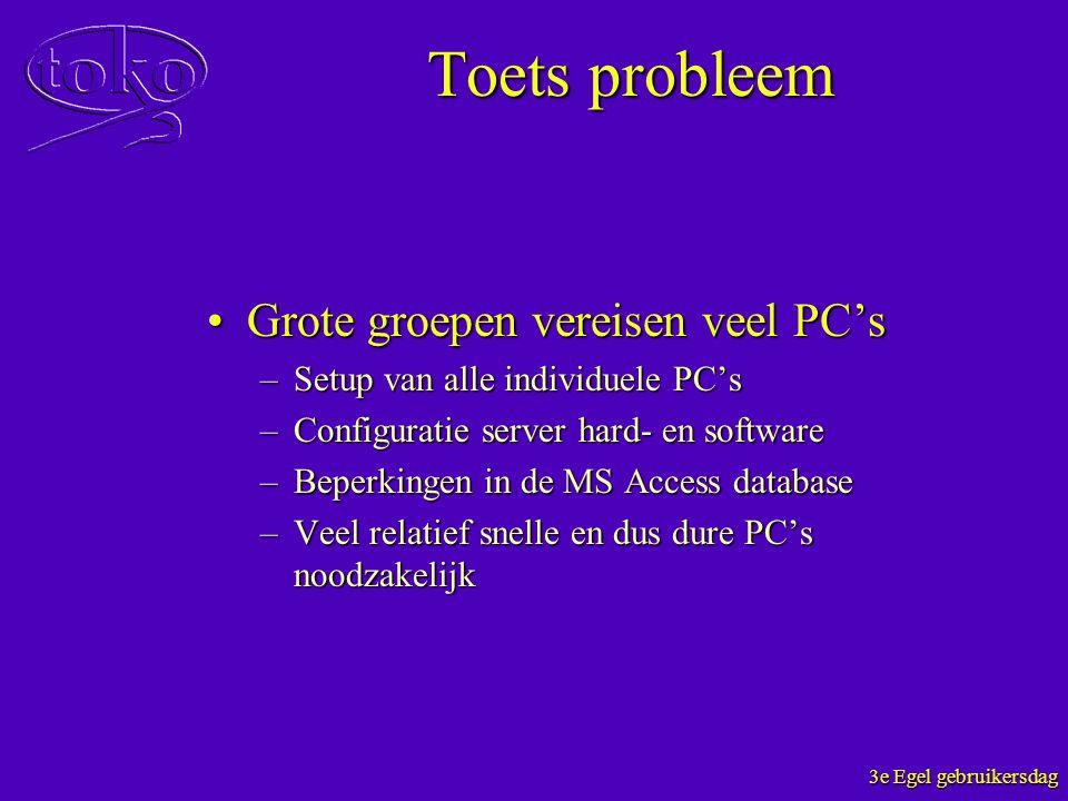 3e Egel gebruikersdag Toets probleem Grote groepen vereisen veel PC'sGrote groepen vereisen veel PC's –Setup van alle individuele PC's –Configuratie s