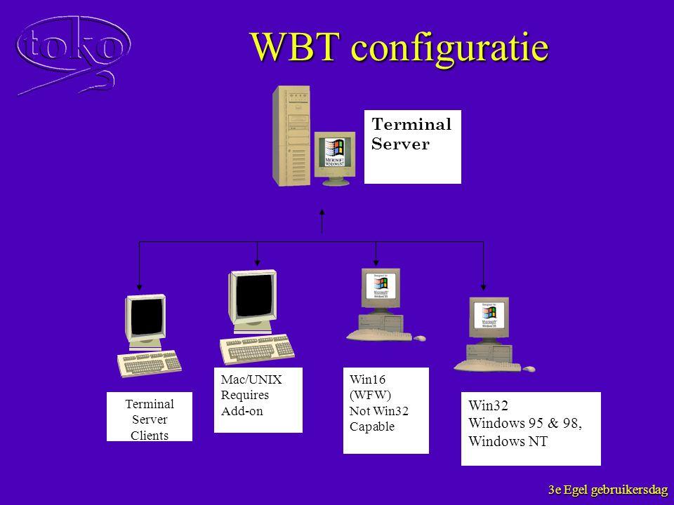 3e Egel gebruikersdag WBT configuratie Terminal Server Terminal Server Clients Mac/UNIX Requires Add-on Win16 (WFW) Not Win32 Capable Win32 Windows 95