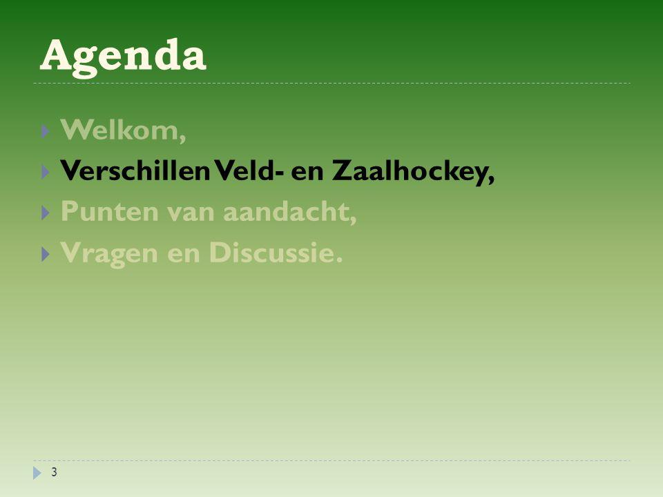 Agenda  Welkom,  Verschillen Veld- en Zaalhockey,  Punten van aandacht,  Vragen en Discussie. 3