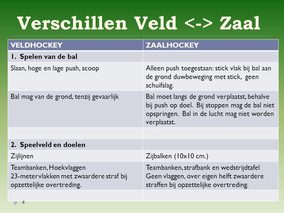 Verschillen Veld Zaal VELDHOCKEYZAALHOCKEY 1.