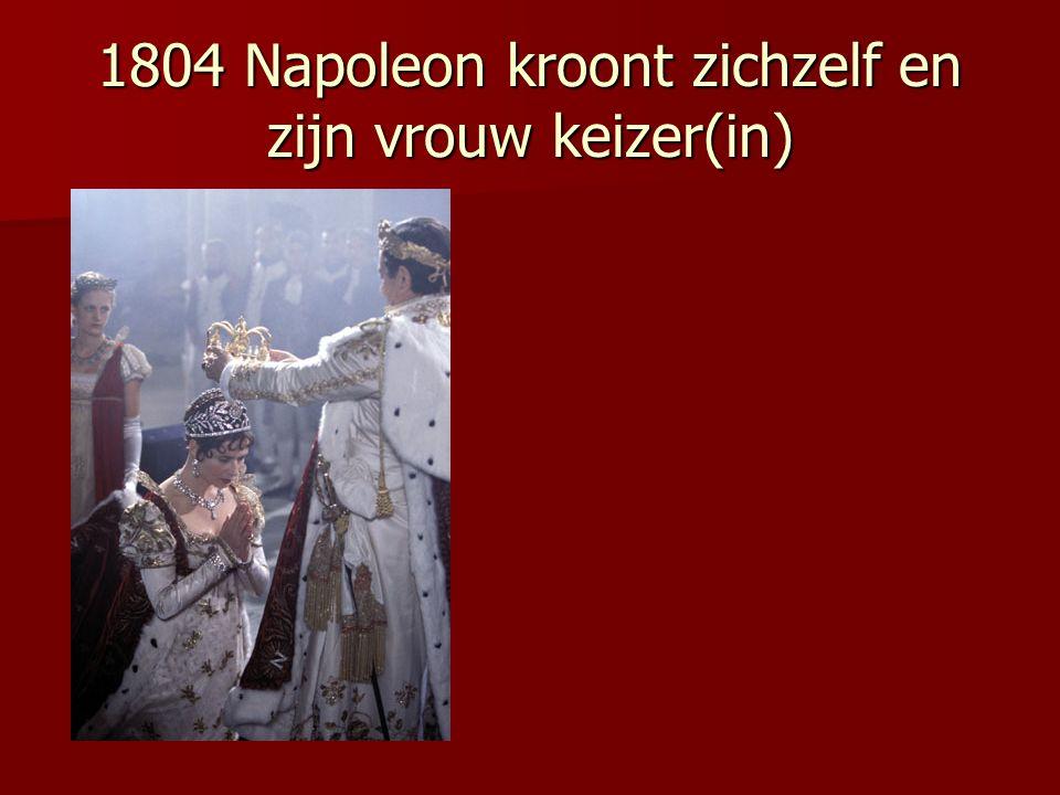 1799Napoleon grijpt de macht na terugkeer uit Egypte als held 1799Napoleon grijpt de macht na terugkeer uit Egypte als held (tekstvragen 1.2 1-2) (tekstvragen 1.2 1-2) 1805Napoleon verslaat Russische en Oostenrijkse legers bij Austerlitz (had wel net van de Engelsen verloren bij Trafalgar) 1805Napoleon verslaat Russische en Oostenrijkse legers bij Austerlitz (had wel net van de Engelsen verloren bij Trafalgar) 1806Invoering continentaal stelsen (zie 4.1) Dit was een handelsblokkade tegen de Engelsen gericht, werkte averechts.