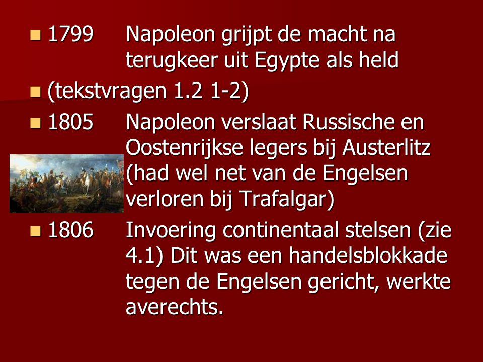 1799Napoleon grijpt de macht na terugkeer uit Egypte als held 1799Napoleon grijpt de macht na terugkeer uit Egypte als held (tekstvragen 1.2 1-2) (tek