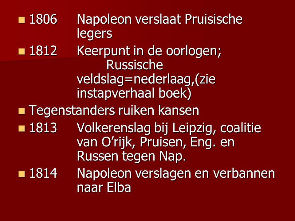 1806Napoleon verslaat Pruisische legers 1806Napoleon verslaat Pruisische legers 1812Keerpunt in de oorlogen; Russische veldslag=nederlaag,(zie instapv