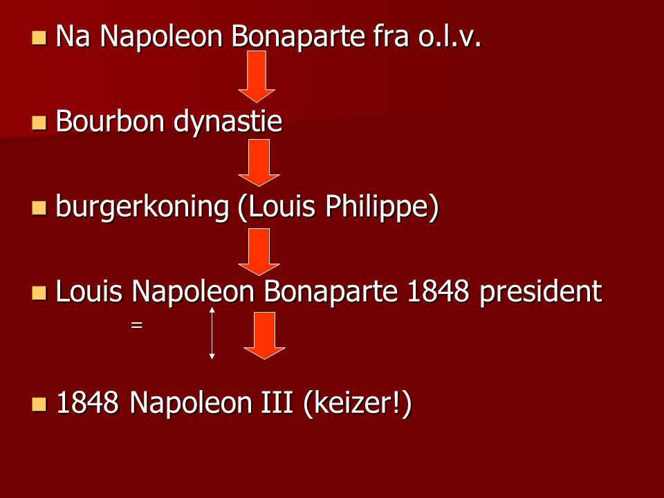 Na Napoleon Bonaparte fra o.l.v. Na Napoleon Bonaparte fra o.l.v. Bourbon dynastie Bourbon dynastie burgerkoning (Louis Philippe) burgerkoning (Louis