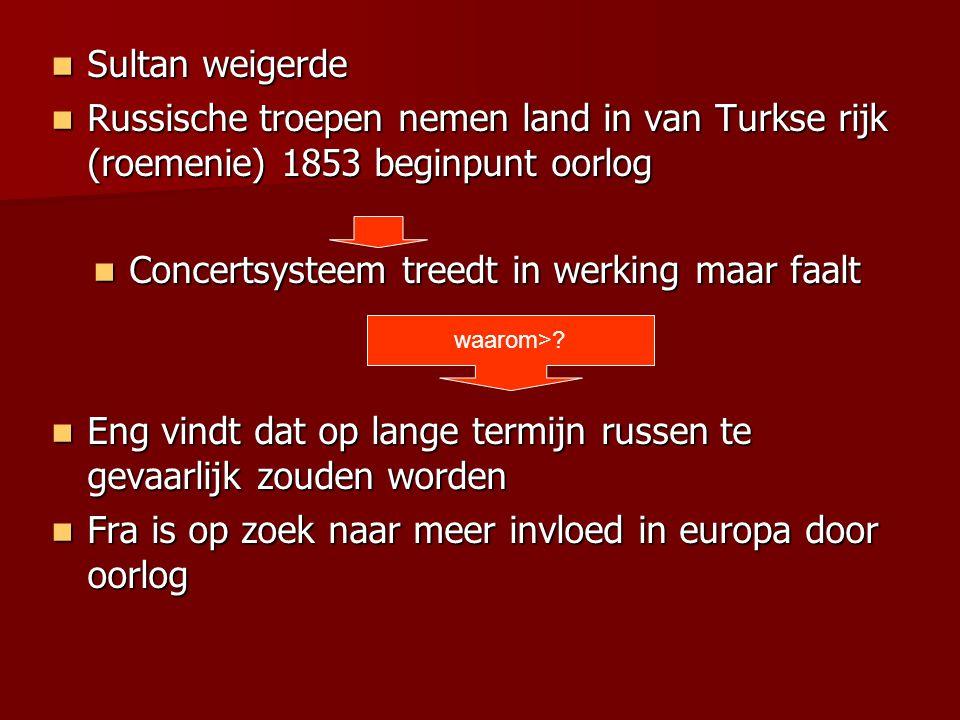 Sultan weigerde Sultan weigerde Russische troepen nemen land in van Turkse rijk (roemenie) 1853 beginpunt oorlog Russische troepen nemen land in van T