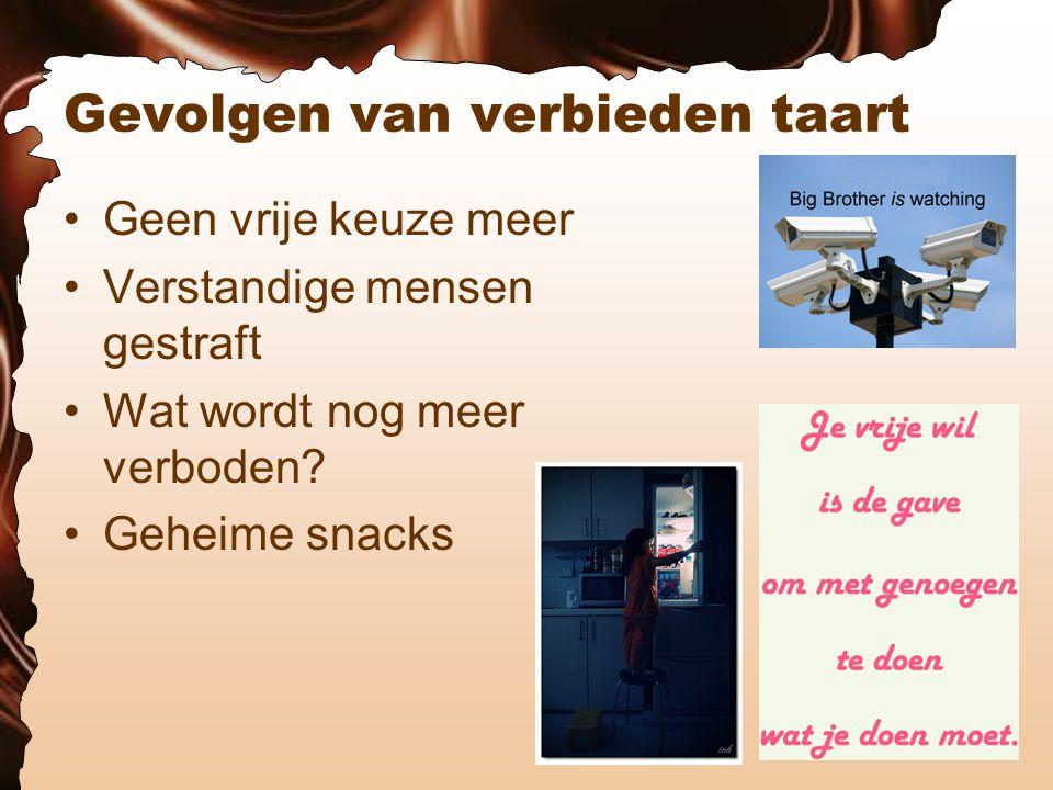 Gevolgen van verbieden taart Geen vrije keuze meer Verstandige mensen gestraft Wat wordt nog meer verboden.