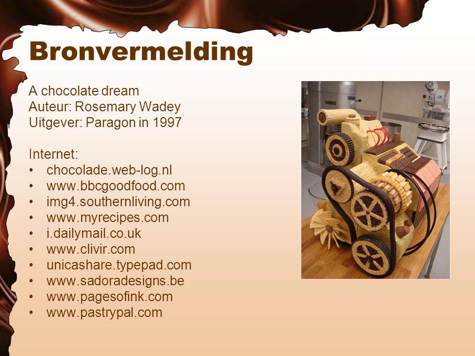 Bronvermelding A chocolate dream Auteur: Rosemary Wadey Uitgever: Paragon in 1997 Internet: chocolade.web-log.nl www.bbcgoodfood.com img4.southernliving.com www.myrecipes.com i.dailymail.co.uk www.clivir.com unicashare.typepad.com www.sadoradesigns.be www.pagesofink.com www.pastrypal.com