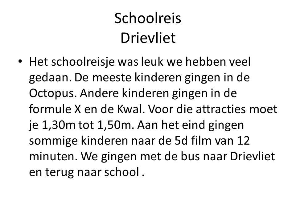 Schoolreis Drievliet Het schoolreisje was leuk we hebben veel gedaan. De meeste kinderen gingen in de Octopus. Andere kinderen gingen in de formule X