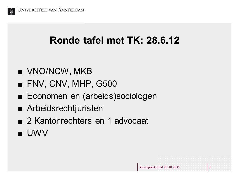 Ronde tafel met TK: 28.6.12 VNO/NCW, MKB FNV, CNV, MHP, G500 Economen en (arbeids)sociologen Arbeidsrechtjuristen 2 Kantonrechters en 1 advocaat UWV Aio-bijeenkomst 29.10.20124