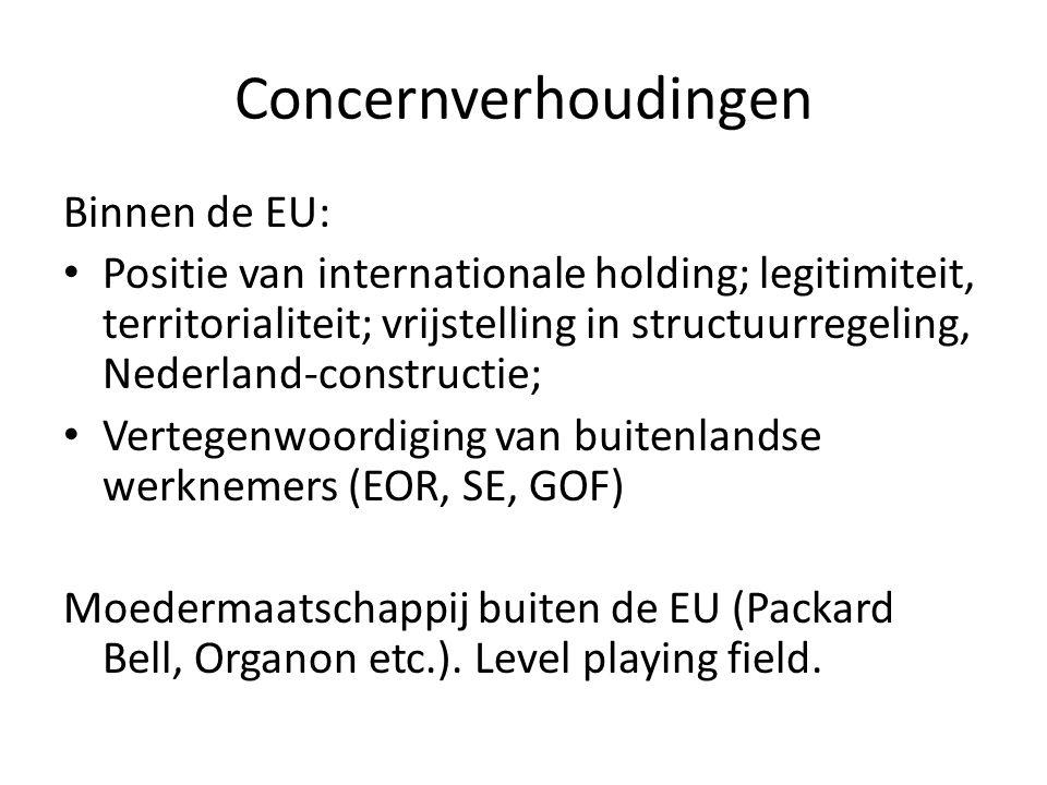 Concernverhoudingen Binnen de EU: Positie van internationale holding; legitimiteit, territorialiteit; vrijstelling in structuurregeling, Nederland-constructie; Vertegenwoordiging van buitenlandse werknemers (EOR, SE, GOF) Moedermaatschappij buiten de EU (Packard Bell, Organon etc.).