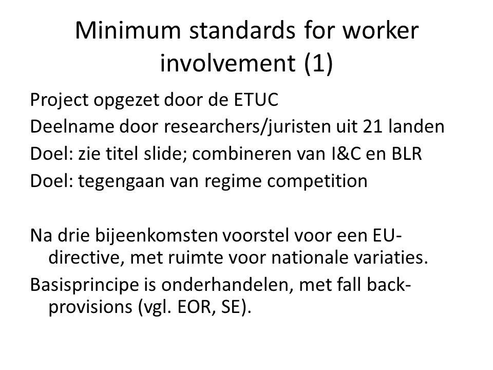 Minimum standards for worker involvement (1) Project opgezet door de ETUC Deelname door researchers/juristen uit 21 landen Doel: zie titel slide; combineren van I&C en BLR Doel: tegengaan van regime competition Na drie bijeenkomsten voorstel voor een EU- directive, met ruimte voor nationale variaties.