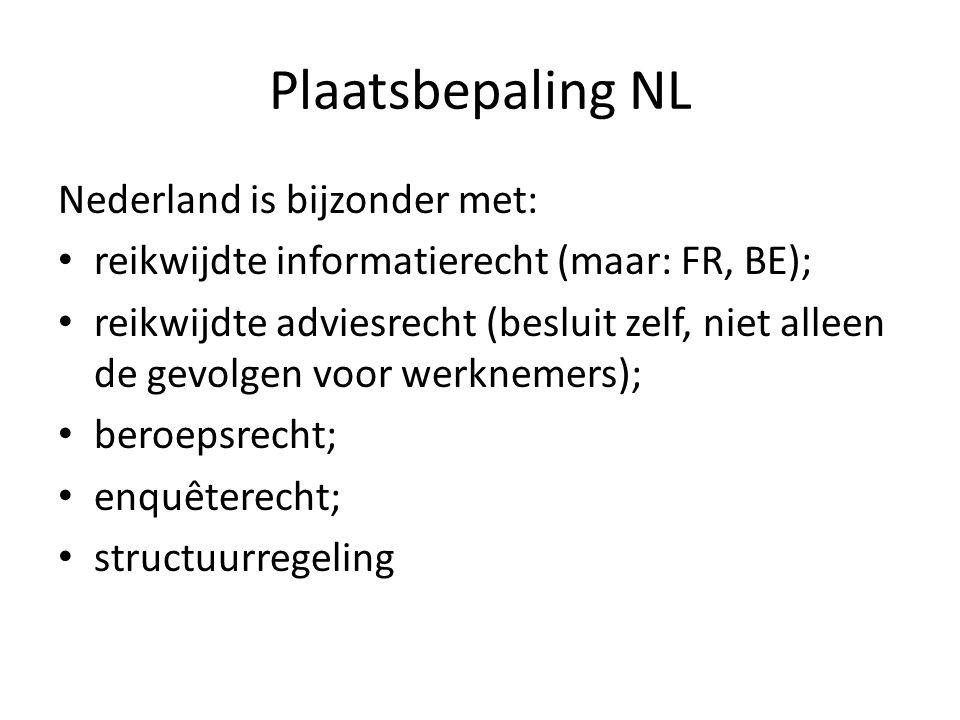 Plaatsbepaling NL Nederland is bijzonder met: reikwijdte informatierecht (maar: FR, BE); reikwijdte adviesrecht (besluit zelf, niet alleen de gevolgen voor werknemers); beroepsrecht; enquêterecht; structuurregeling