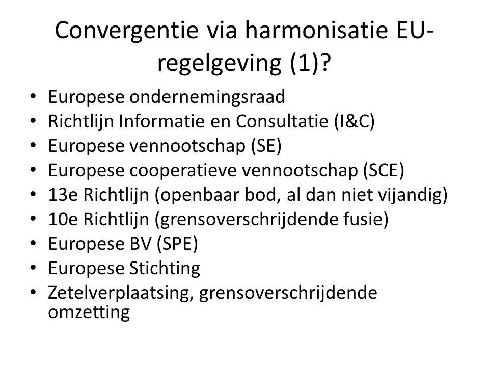 Convergentie via harmonisatie EU- regelgeving (1)? Europese ondernemingsraad Richtlijn Informatie en Consultatie (I&C) Europese vennootschap (SE) Euro