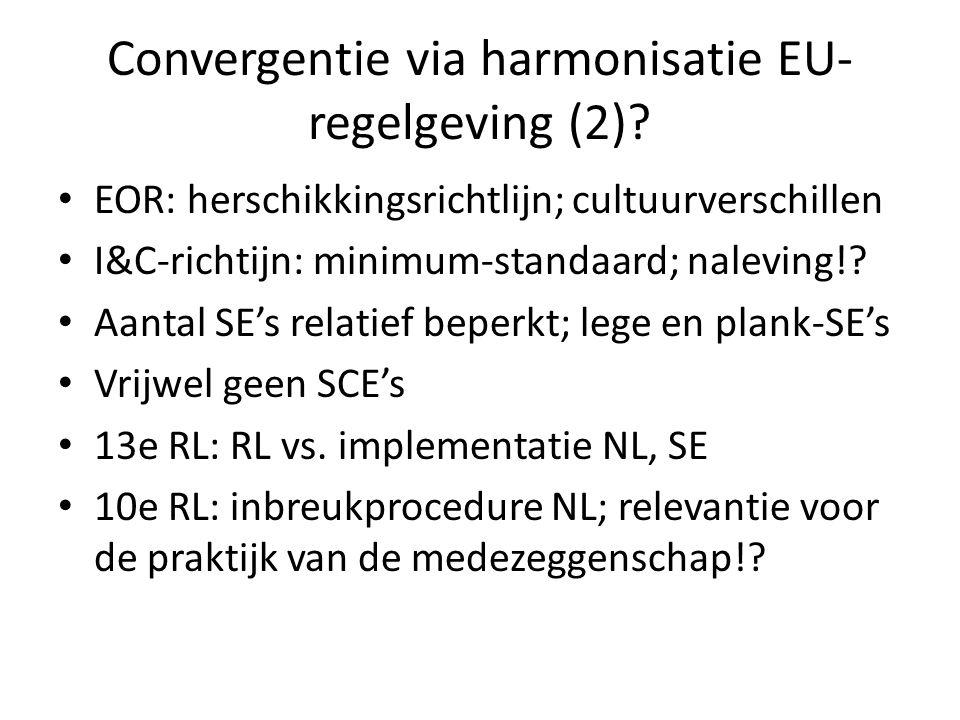 Convergentie via harmonisatie EU- regelgeving (2)? EOR: herschikkingsrichtlijn; cultuurverschillen I&C-richtijn: minimum-standaard; naleving!? Aantal