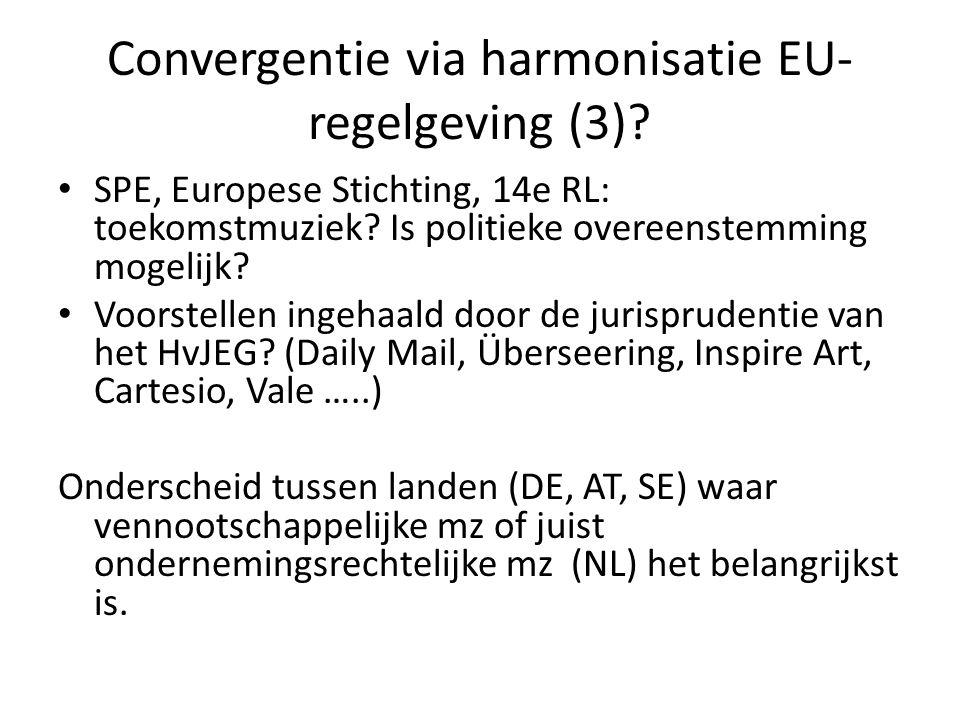 Convergentie via harmonisatie EU- regelgeving (3)? SPE, Europese Stichting, 14e RL: toekomstmuziek? Is politieke overeenstemming mogelijk? Voorstellen