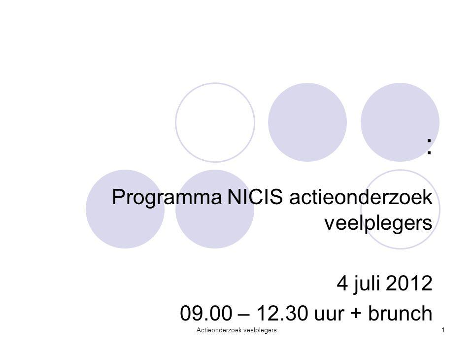 : Programma NICIS actieonderzoek veelplegers 4 juli 2012 09.00 – 12.30 uur + brunch Actieonderzoek veelplegers1