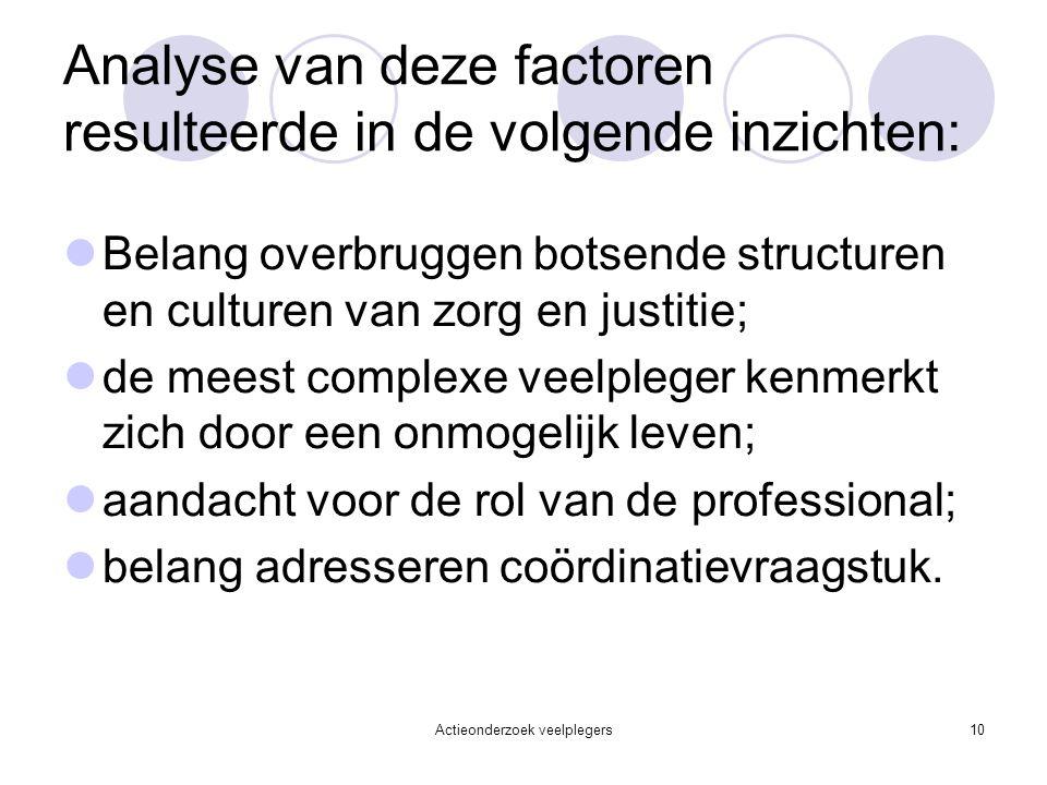 Actieonderzoek veelplegers10 Analyse van deze factoren resulteerde in de volgende inzichten: Belang overbruggen botsende structuren en culturen van zo