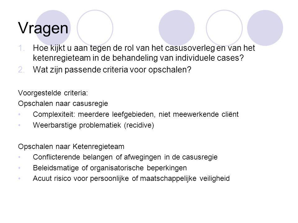 Vragen 1.Hoe kijkt u aan tegen de rol van het casusoverleg en van het ketenregieteam in de behandeling van individuele cases.
