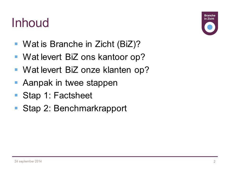 24 september 2014 2 Inhoud  Wat is Branche in Zicht (BiZ).