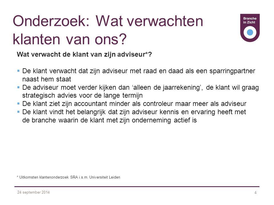 24 september 2014 4 Onderzoek: Wat verwachten klanten van ons.