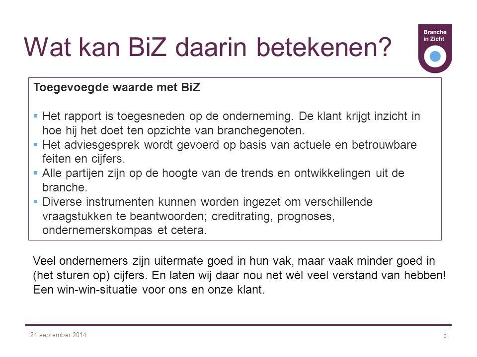 24 september 2014 5 Wat kan BiZ daarin betekenen.