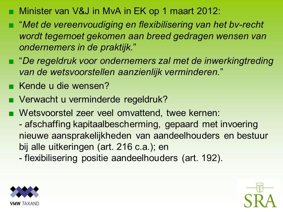 ■Minister van V&J in MvA in EK op 1 maart 2012: ■ Met de vereenvoudiging en flexibilisering van het bv-recht wordt tegemoet gekomen aan breed gedragen wensen van ondernemers in de praktijk. ■ De regeldruk voor ondernemers zal met de inwerkingtreding van de wetsvoorstellen aanzienlijk verminderen. ■Kende u die wensen.