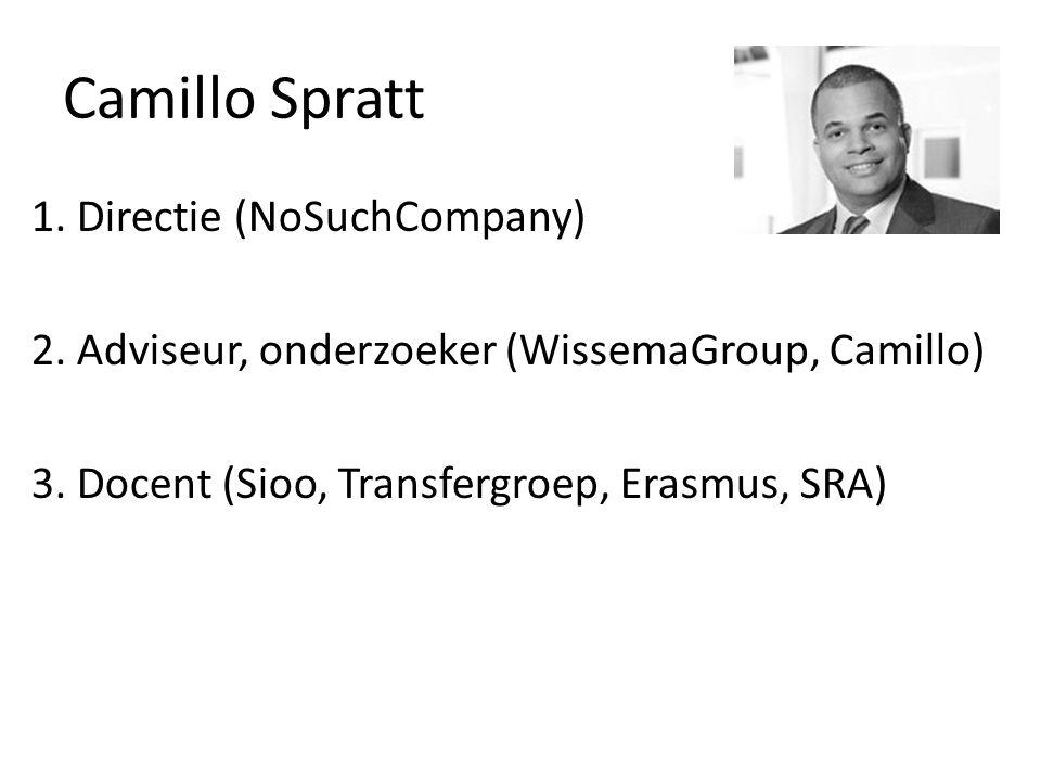 Camillo Spratt 1. Directie (NoSuchCompany) 2. Adviseur, onderzoeker (WissemaGroup, Camillo) 3.