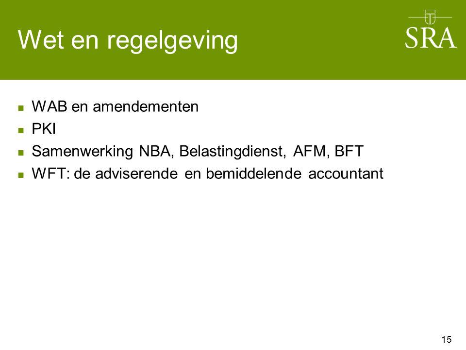 Wet en regelgeving WAB en amendementen PKI Samenwerking NBA, Belastingdienst, AFM, BFT WFT: de adviserende en bemiddelende accountant 15