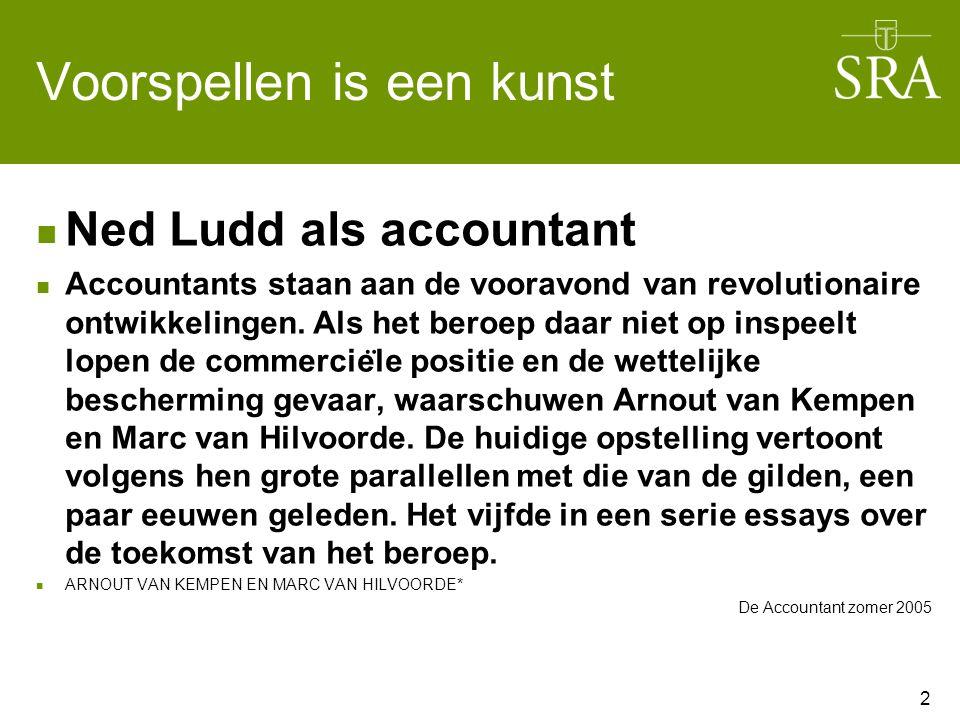 Voorspellen is een kunst Ned Ludd als accountant Accountants staan aan de vooravond van revolutionaire ontwikkelingen.