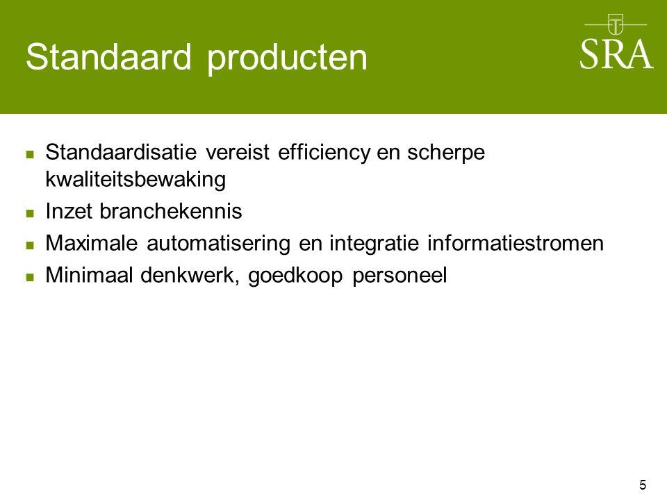 Standaard producten Standaardisatie vereist efficiency en scherpe kwaliteitsbewaking Inzet branchekennis Maximale automatisering en integratie informatiestromen Minimaal denkwerk, goedkoop personeel 5