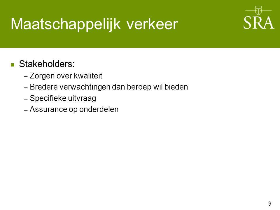 Maatschappelijk verkeer Stakeholders: – Zorgen over kwaliteit – Bredere verwachtingen dan beroep wil bieden – Specifieke uitvraag – Assurance op onderdelen 9