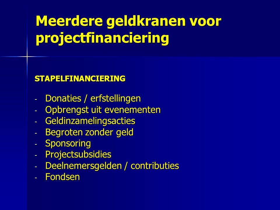 Meerdere geldkranen voor projectfinanciering STAPELFINANCIERING - Donaties / erfstellingen - Opbrengst uit evenementen - Geldinzamelingsacties - Begro