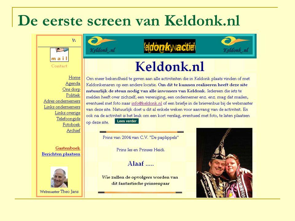 De eerste screen van Keldonk.nl