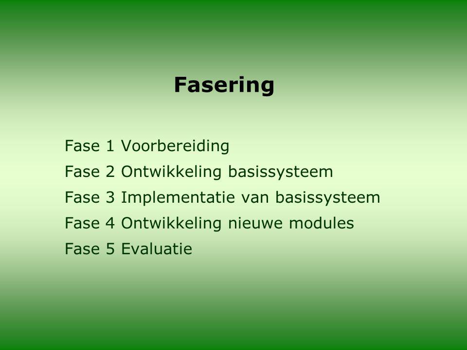 Fasering Fase 1 Voorbereiding Fase 2 Ontwikkeling basissysteem Fase 3 Implementatie van basissysteem Fase 4 Ontwikkeling nieuwe modules Fase 5 Evaluatie