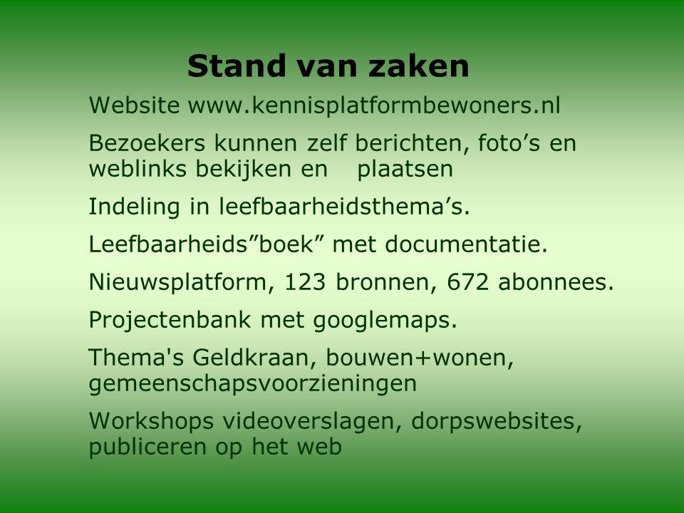 Stand van zaken Website www.kennisplatformbewoners.nl Bezoekers kunnen zelf berichten, foto's en weblinks bekijken en plaatsen Indeling in leefbaarheidsthema's.