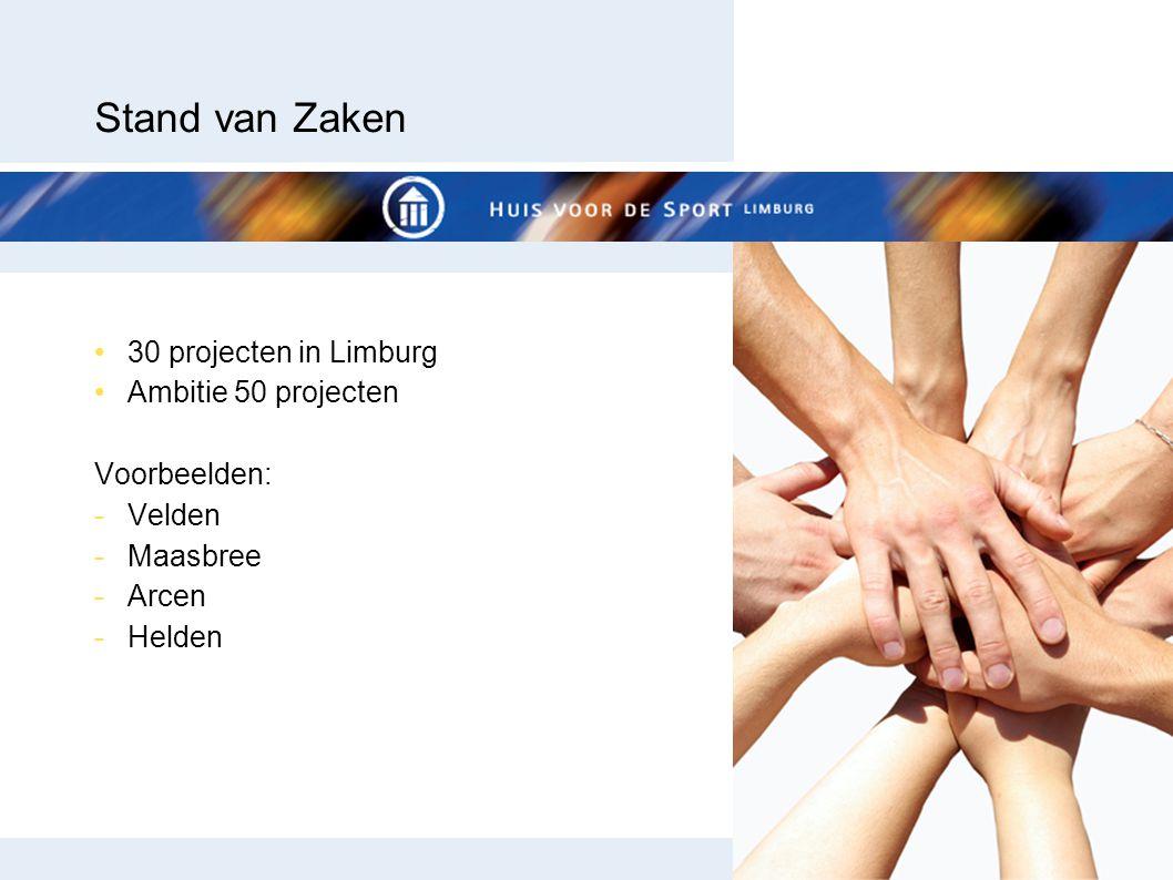 Stand van Zaken 30 projecten in Limburg Ambitie 50 projecten Voorbeelden: -Velden -Maasbree -Arcen -Helden