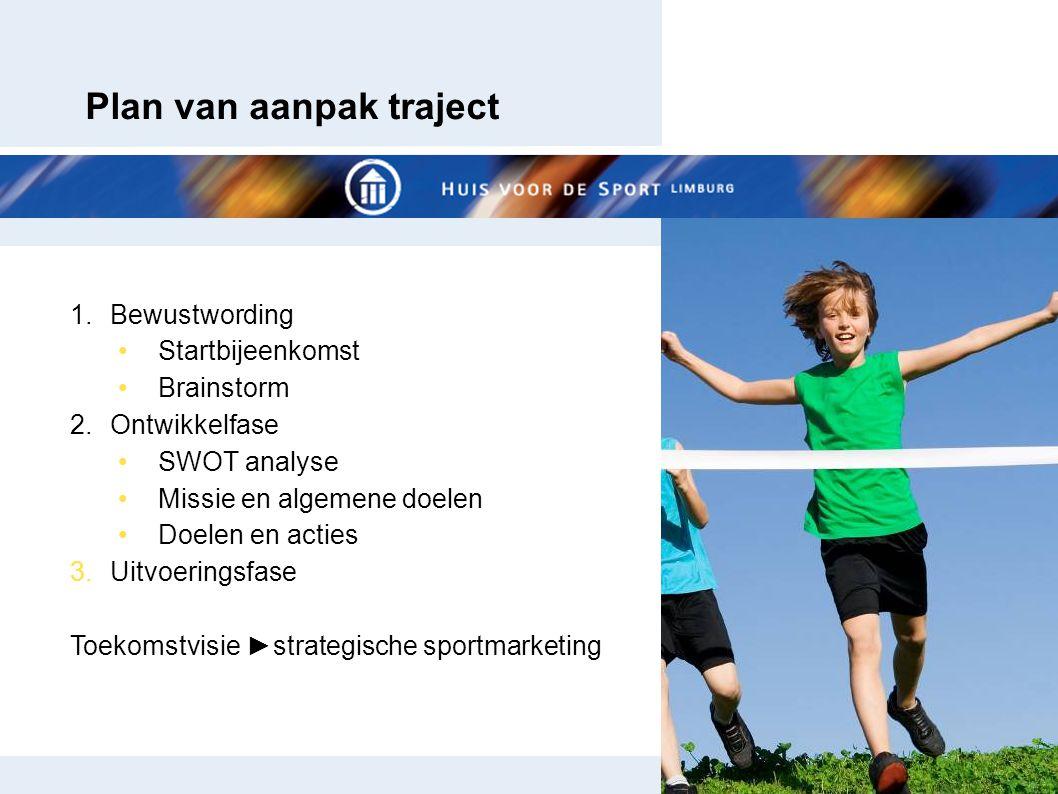 Plan van aanpak traject 1.Bewustwording Startbijeenkomst Brainstorm 2.Ontwikkelfase SWOT analyse Missie en algemene doelen Doelen en acties 3.Uitvoeringsfase Toekomstvisie ►strategische sportmarketing