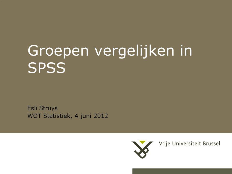 24-9-20141Herhaling titel van presentatie Groepen vergelijken in SPSS Esli Struys WOT Statistiek, 4 juni 2012