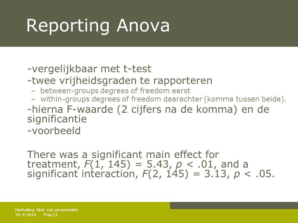 Pag. 24-9-201411 Herhaling titel van presentatie Reporting Anova -vergelijkbaar met t-test -twee vrijheidsgraden te rapporteren –between-groups degree