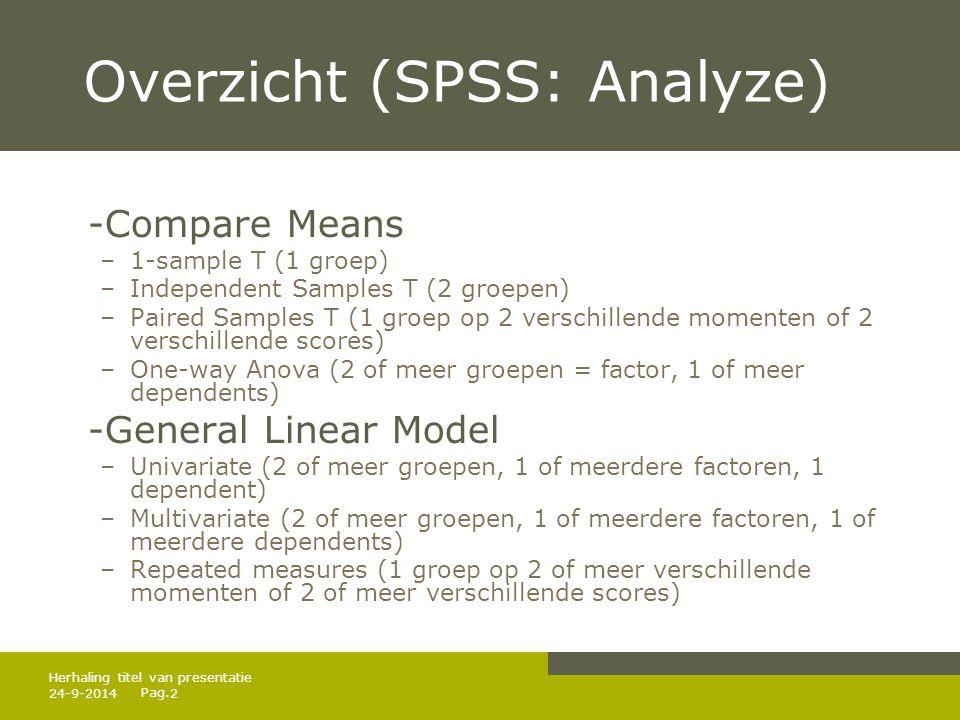 Pag. 24-9-20142 Herhaling titel van presentatie Overzicht (SPSS: Analyze) -Compare Means –1-sample T (1 groep) –Independent Samples T (2 groepen) –Pai