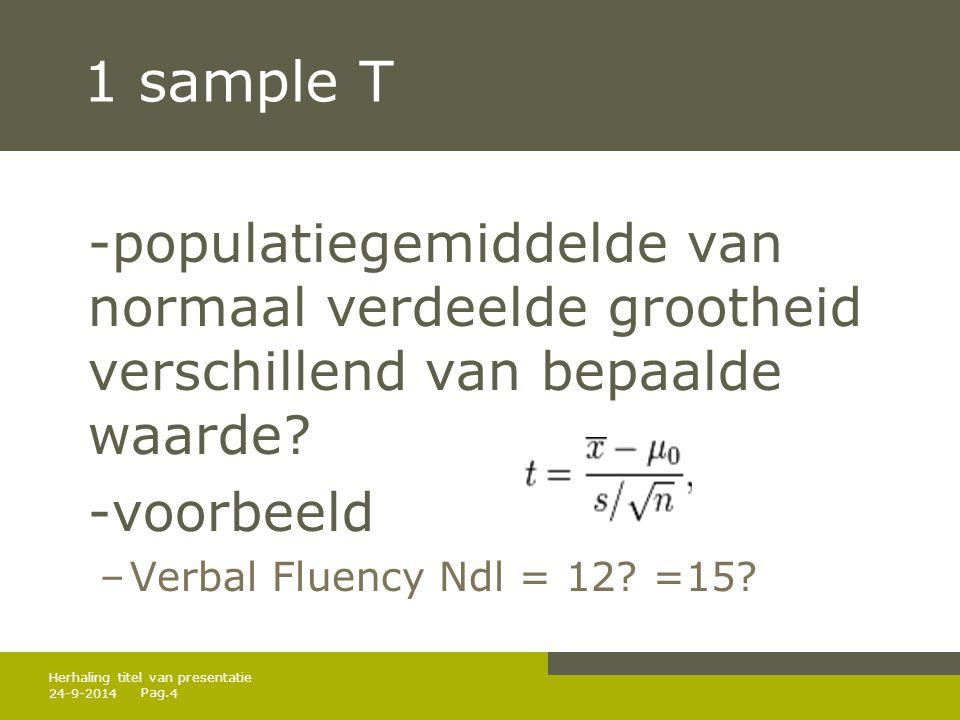 Pag. 24-9-20144 Herhaling titel van presentatie 1 sample T -populatiegemiddelde van normaal verdeelde grootheid verschillend van bepaalde waarde? -voo