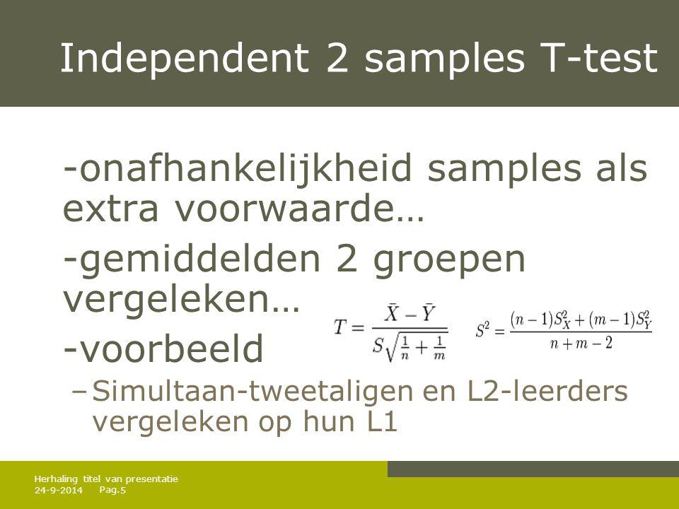 Pag. 24-9-20145 Herhaling titel van presentatie Independent 2 samples T-test -onafhankelijkheid samples als extra voorwaarde… -gemiddelden 2 groepen v