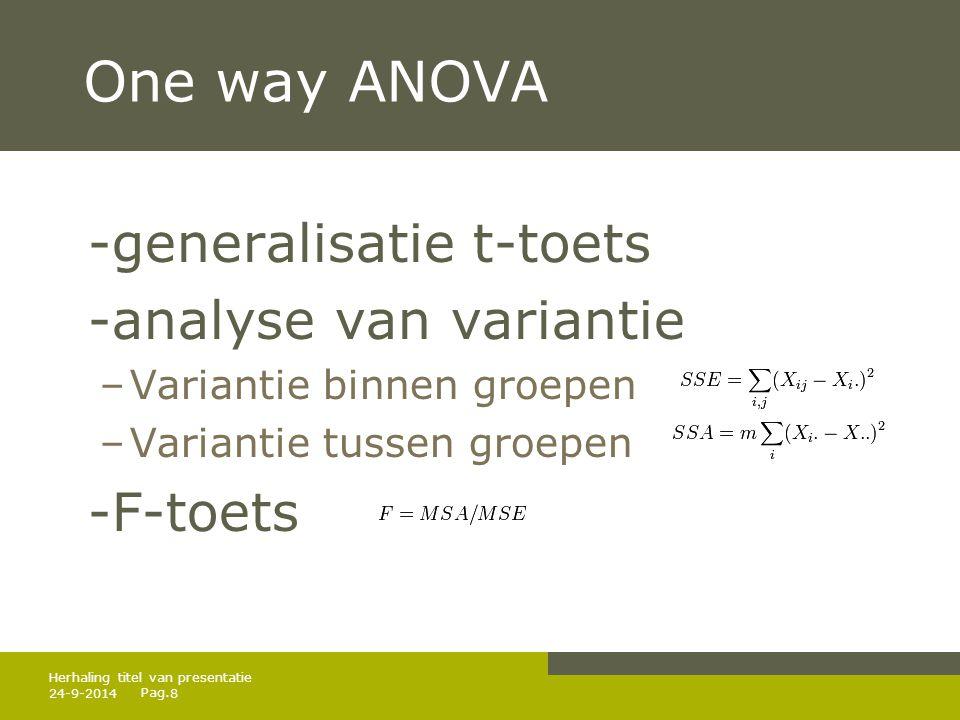Pag. 24-9-20148 Herhaling titel van presentatie One way ANOVA -generalisatie t-toets -analyse van variantie –Variantie binnen groepen –Variantie tusse