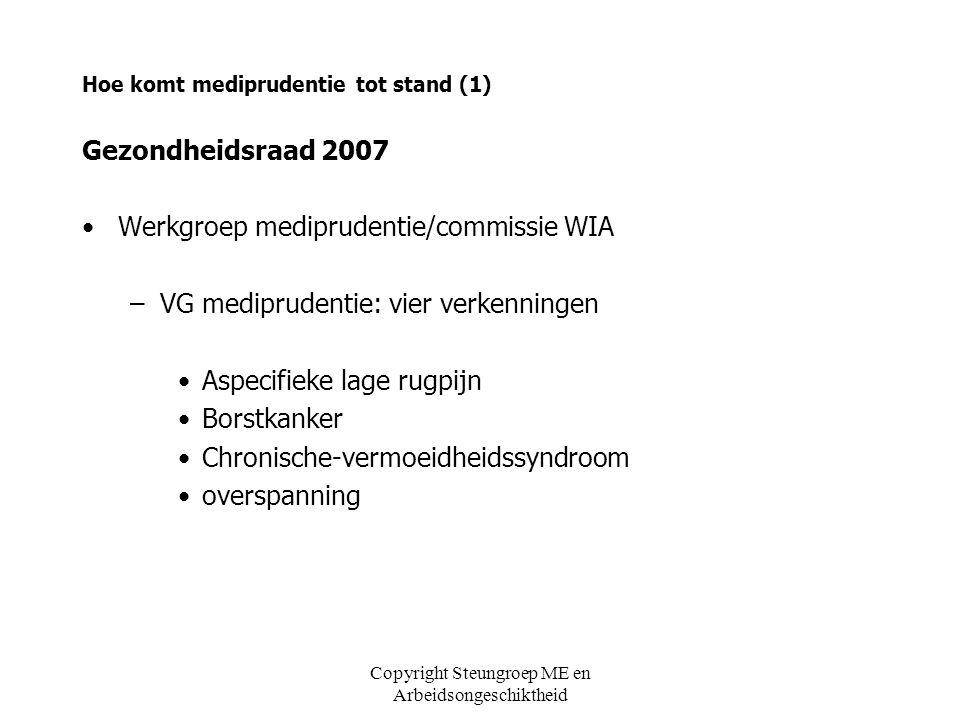 Copyright Steungroep ME en Arbeidsongeschiktheid Hoe komt mediprudentie tot stand (1) Gezondheidsraad 2007 Werkgroep mediprudentie/commissie WIA –VG m
