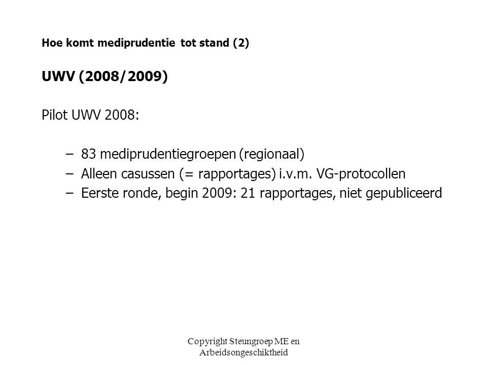 Copyright Steungroep ME en Arbeidsongeschiktheid Hoe komt mediprudentie tot stand (2) UWV (2008/2009) Pilot UWV 2008: –83 mediprudentiegroepen (region